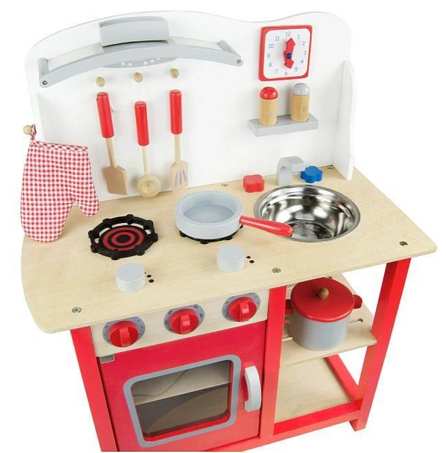 Czerwona klasyczna kuchnia drewniana dla dzieci  ZABAWKI  Zabawki drewniane   -> Kuchnia Dla Dzieci Zabawki