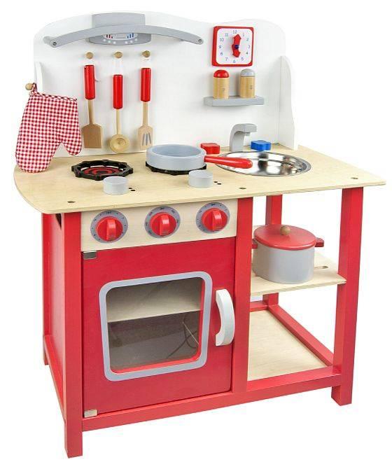 Czerwona klasyczna kuchnia drewniana dla dzieci  ZABAWKI  Zabawki drewniane