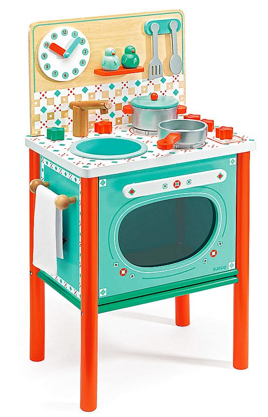 Turkusowa kuchnia dla dzieci z akcesoriami, Djeco  ZABAWKI  Zabawki drewnia   -> Kuchnia Drewniana Dla Dzieci Zabawki