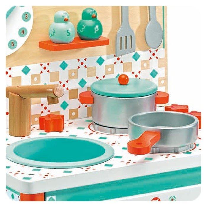 Turkusowa kuchnia dla dzieci z akcesoriami, Djeco  ZABAWKI  Zabawki drewnia   -> Kuchnia Dla Dzieci Gra Za Darmo