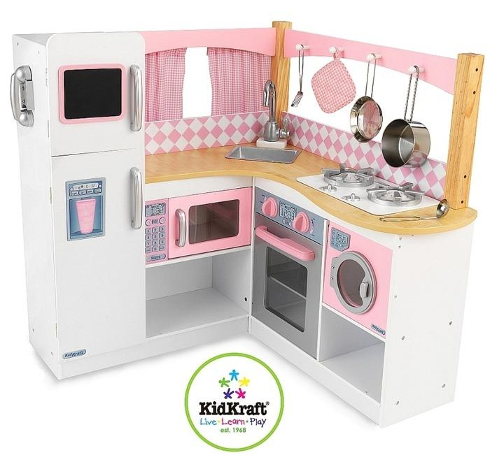 Biało różowa narożna kuchnia dla dzieci KidKraft  ZABAWKI   -> Kuchnie Dla Dzieci Kidkraft