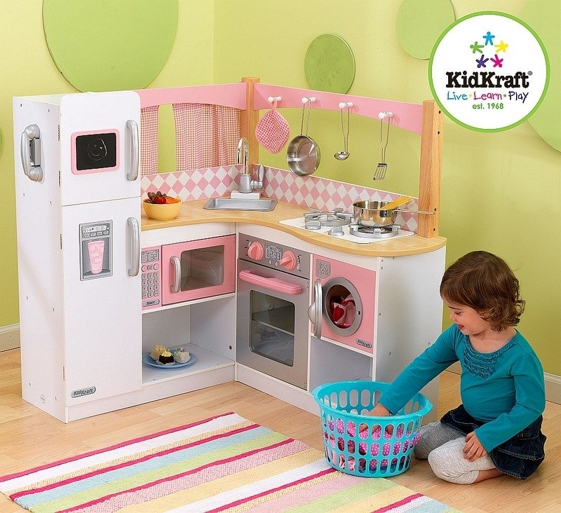 Biało Różowa Narożna Kuchnia Dla Dzieci Kidkraft Zabawki