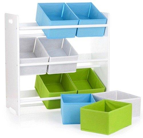 drewniany bia y rega z pojemnikami na zabawki pokoik meble dla dzieci pojemniki na. Black Bedroom Furniture Sets. Home Design Ideas