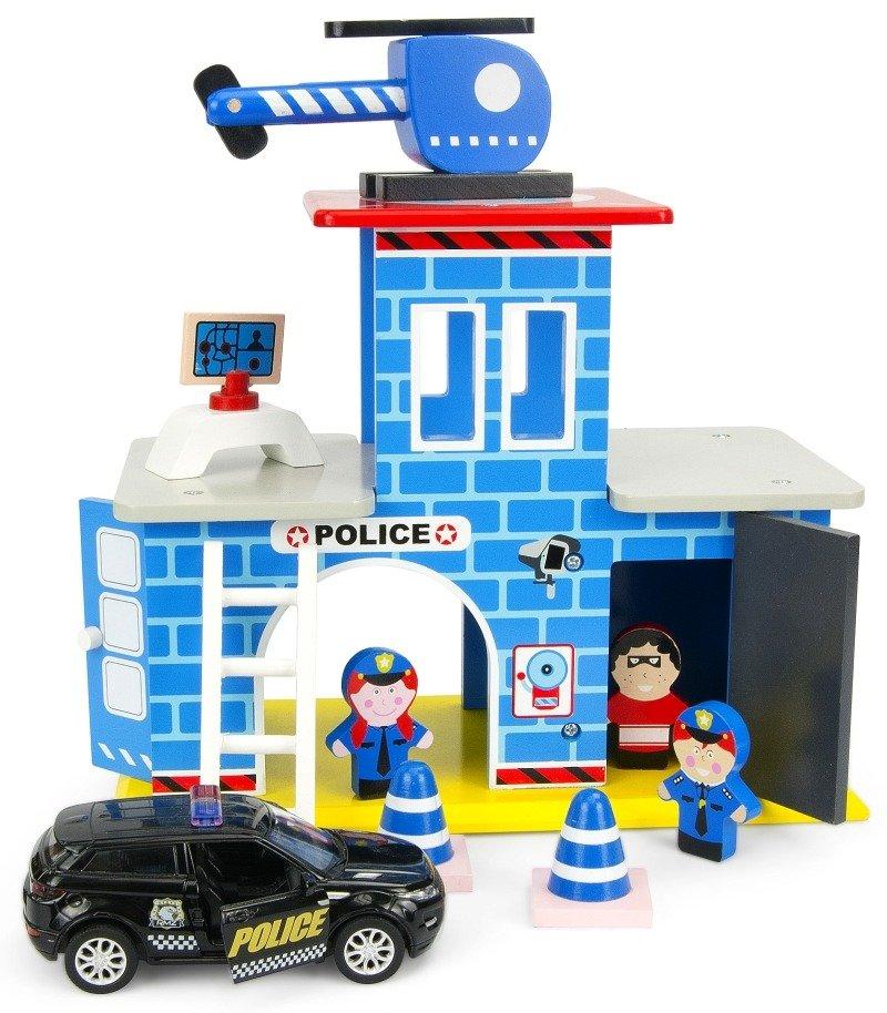 Drewniany Posterunek Policji Z Wozem Police Zabawki Zabawki