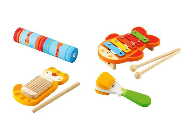 Kolorowy Drewniany Zestaw Rytmiczny Cztery Instrumenty