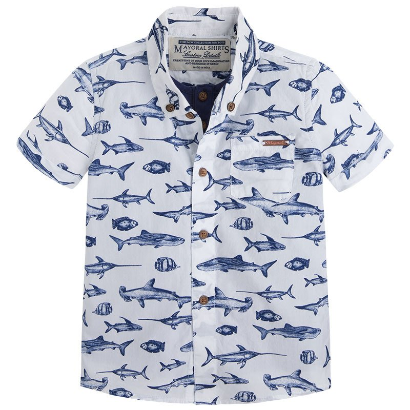 Koszula dla ch opca z rekinami kr tki r kaw ubranka for Fish print shirt