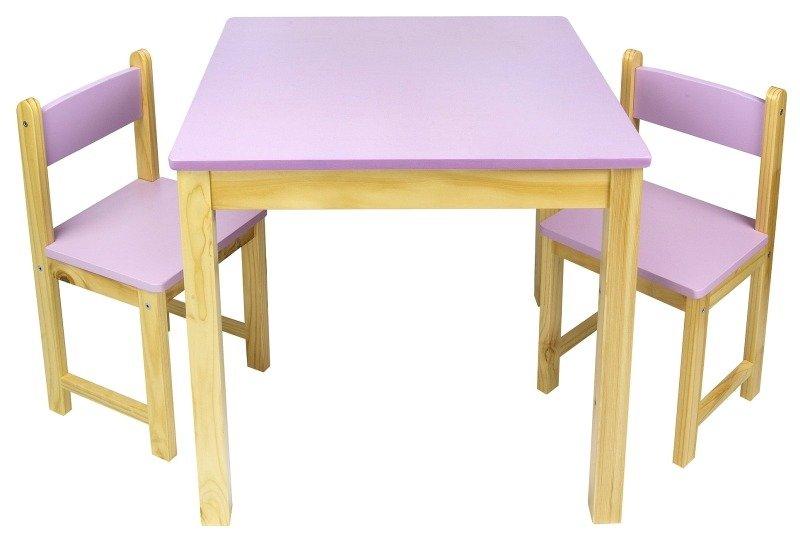 Rewelacyjny Lawendowy zestaw drewniany stół i dwa krzesełka | POKOIK \ Meble XO43