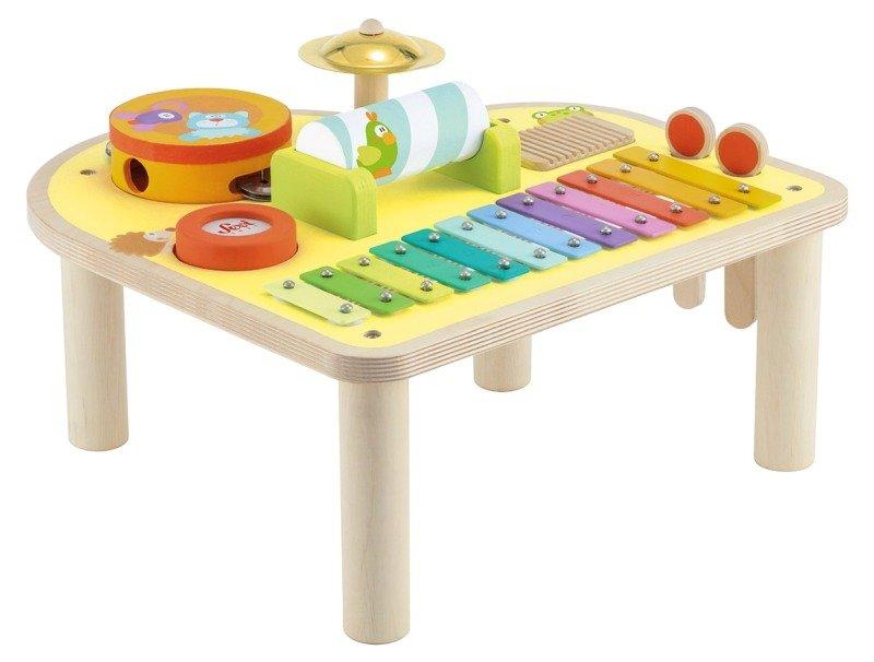 Tęczowy Stolik Muzyczny Drewniane Instrumenty Muzyczne